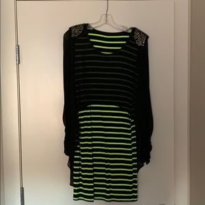 Black and green striped dress